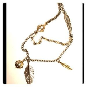Jewelry - Gold and Silver mixed Feather Necklace